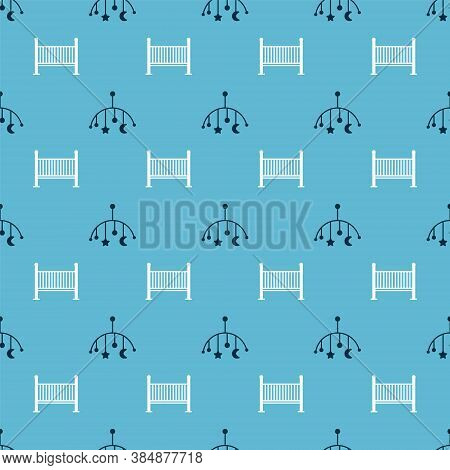 Set Baby Crib Hanging Toys And Baby Crib Cradle Bed On Seamless Pattern. Vector