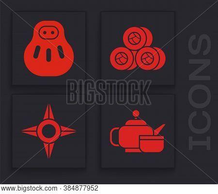 Set Japanese Tea Ceremony, Maneki Neko Cat, Sushi And Japanese Ninja Shuriken Icon. Vector
