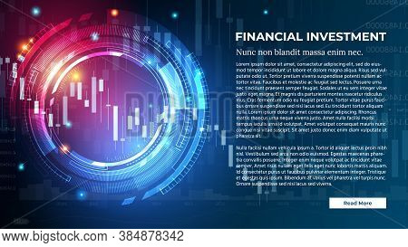 Vector Banner For Financial Investment Or Forex Trading With Candlestick Charts And Graphs On Dark B