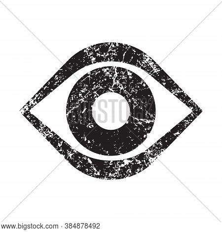 Eye Vector Icon With Grunge Texture. Optic Eyesight And Look Symbol. View Or Watch Sign. Optician Lo
