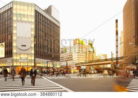 Ginza, Tokyo, Kanto Region, Honshu, Japan, Asia - April 17, 2010: High End Stores At Sukiyabashi Cro