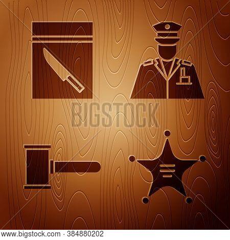 Set Hexagram Sheriff, Evidence Bag And Knife, Judge Gavel And Police Officer On Wooden Background. V