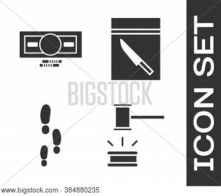Set Judge Gavel, Stacks Paper Money Cash, Footsteps And Evidence Bag And Knife Icon. Vector