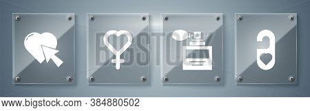 Set Please Do Not Disturb With Heart, Perfume, Female Gender Symbol And Heart And Cursor Click. Squa