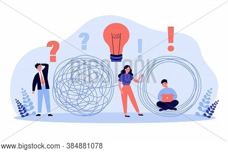 Business Solutions Metaphor. Professionals With Idea Bulb And Laptop Unraveling Tangle Of Businessma