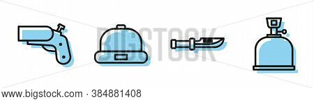 Set Line Camping Knife, Flare Gun Pistol, Beanie Hat And Camping Gas Stove Icon. Vector