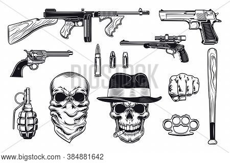 Black Mafia And Gangsters Flat Illustration Set. Monochrome Retro Bandit Skull, Pistol, Gun, Revolve