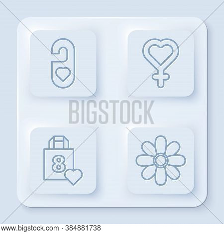 Set Line Please Do Not Disturb With Heart, Female Gender Symbol, Shopping Bag With Heart And Flower.