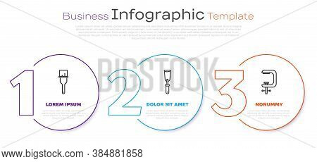 Set Line Paint Brush, Putty Knife And Clamp And Screw Tool. Business Infographic Template. Vector
