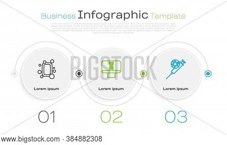 Set Line Bar Of Soap, Dna Spiral And Computer And Syringe Virus. Business Infographic Template. Vect
