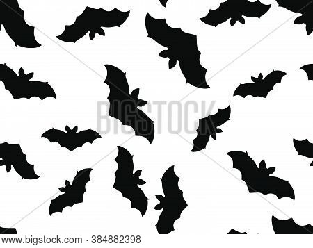 Hallowen Seamless Pattern With Flying Bats. Festive Decor With Scary Bats. Background For Wrapping P