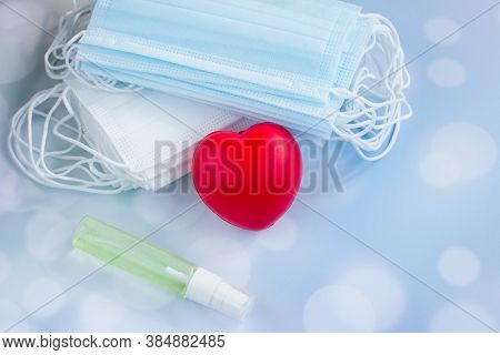 Protective Medical Mask And Medications For Doctors. Antiseptic Gloves And Thermometerr