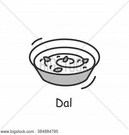Dal Line Icon. Indian Subcontinental Cuisine. Dried Pulses Soup. Traditional Delicious Indian Dish.