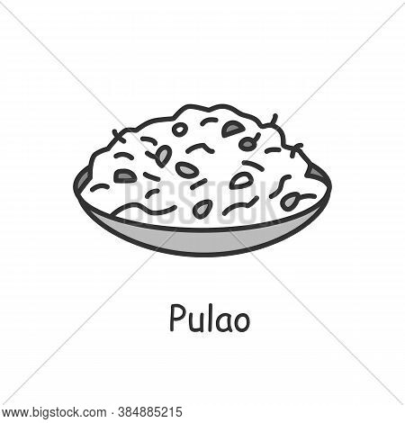 Pulao Line Icon. Middle Eastern Cuisine. Rice Or Bulgur In Broth. Traditional Delicious Indian Dish.