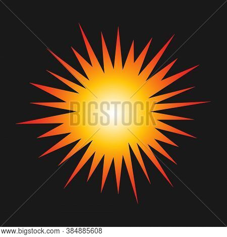 Sunburst Explosion Vector Graphic. Detonation Icon. Cartoon Style Firework Flash Logo. Spark Beam Sy