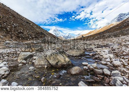 Brook On The Way To Everest Base Camp. Sagarmatha National Park, Nepal