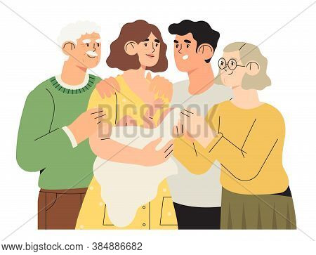 Happy Family Portrait, Motherhood, Fatherhood Concept. Happy Father Mother Grandmother Grandfather A