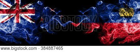 New Zealand Vs Liechtenstein, Liechtensteins Smoky Mystic Flags Placed Side By Side. Thick Colored S