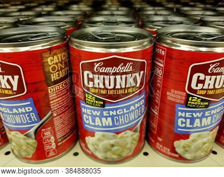 Wilmington, Delaware, U.s.a - September 10, 2020 - Cans Of New England Clam Chowder Soup By Campbell