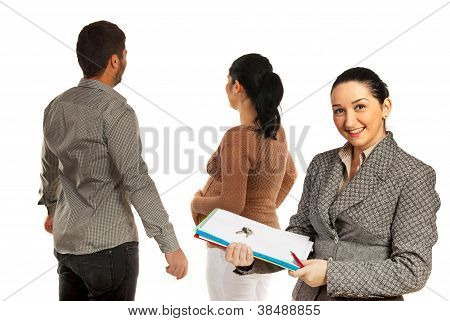 Real Estate Agent Woman With Family