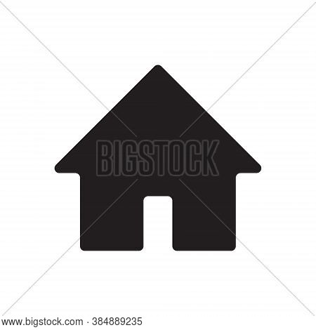 Home Icon. House Symbol Button. Flat Shape Building Logo Sign. Black Silhouette Isolated On White Ba