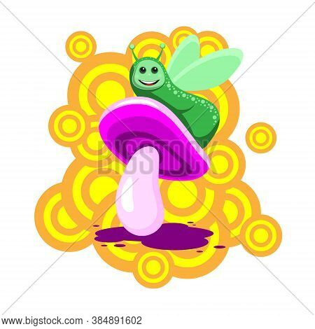 The Caterpillar Character Sits On A Pink Mushroom On A White Isolated Background. Vector Image Eps 1