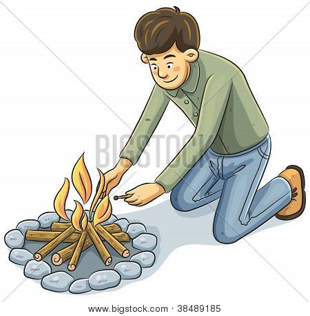 Man Lighting The fire