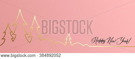 Merry Christmas And Happy New Year Greeting Card. Fancy Coral Pink Colour Background With Lettering
