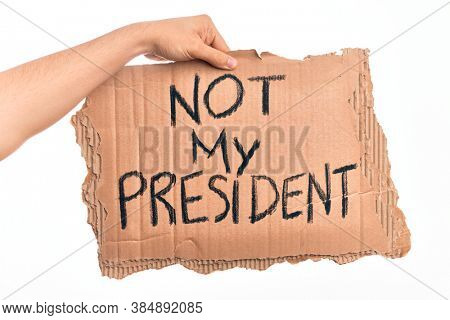 Cardboard banner against goverment and president over isolated white background