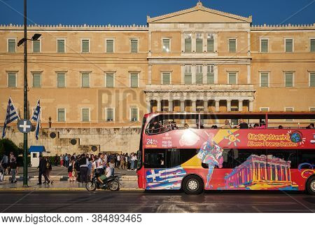 May 11, 2019 - Athens, Greece: Tourists And City Car Traffic, Hop-on-hop-off Bus, Syntagma Square In