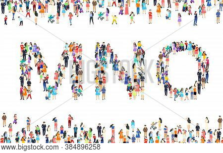 Large Group Of People In Letter M, N, O Sign. People Font Set. Vector