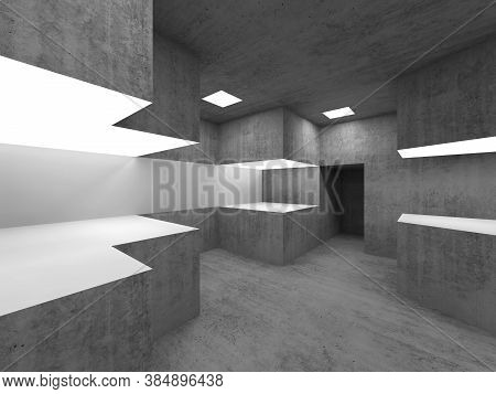 Empty Concrete Room Interior With Illuminated White Exhibition Stands. 3d Rendering Illustration