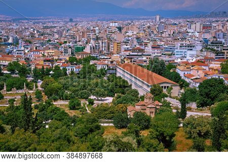 Aerial City View Of Athens, Capital Of Greece. Ancient Agora. Stoa Of Attalos, Odeon Of Agrippa And