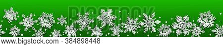 Christmas Seamless Banner With Volume Paper Snowflakes With Soft Shadows On Green Background. With H