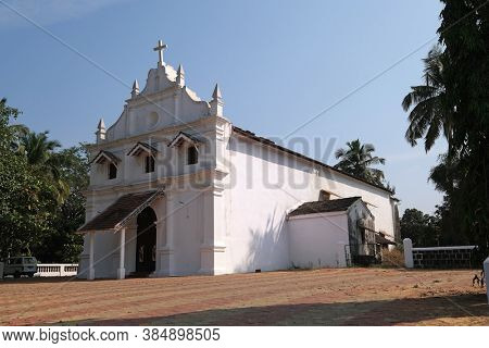 OLD GOA, INDIA - FEBRUARY 18, 2020: Saint Blaise Catholic Church in Gandaulim, Goa, India