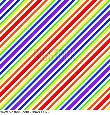 Rainbow Stripe Seamless Pattern Background In Diagonal Style - Rainbow Diagonal Striped Seamless Pat