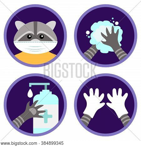 Safety Measures Against Coronavirus Illustrated By The Cute Raccoon. Set Of Flat Vector Icons: Wear