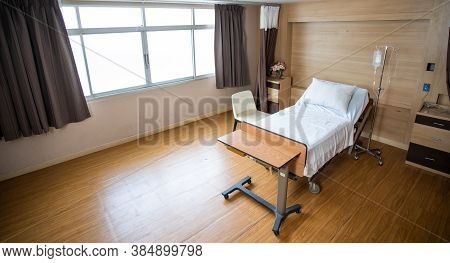 Recovery Room With Bed And Comfortable Medical. Interior Of Empty Hospital Room.