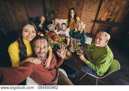 Self-portrait Of Nice Attractive Cheerful Positive Big Full Family Small Little Kids Parents Brother