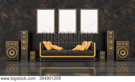 Black Interior With Modern Design Black And Yellow Speaker System, Sofa And Frame For Mockup, 3d Ill
