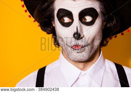 Closeup Headshot Photo Of Scary Mime Bristle Guy Interested Tricky Look Empty Space Spotted Fiancee
