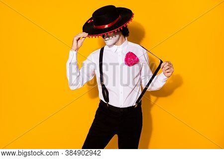 Photo Of Creepy Mysterious Danger Guy Charismatic Hold Cap Matador Prepare Fight Big Bull Wear White