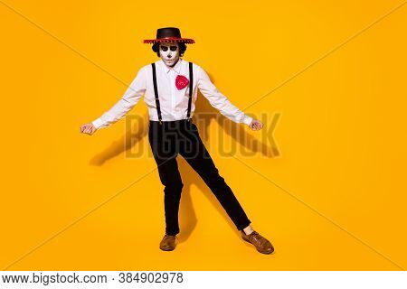 Full Length Photo Of Scary Frightening Monster Guy Dance Pretend Toreador Fighting Bull Wear White S