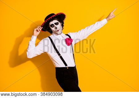 Profile Photo Of Scary Charismatic Guy Spanish Tradition Dance Hold Cap Direct Finger Empty Space We