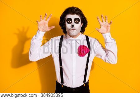 Photo Of Spooky Ghost Undead Bristled Guy Raise Hands Creepy Gesture Staring Funny Grimace Frighteni