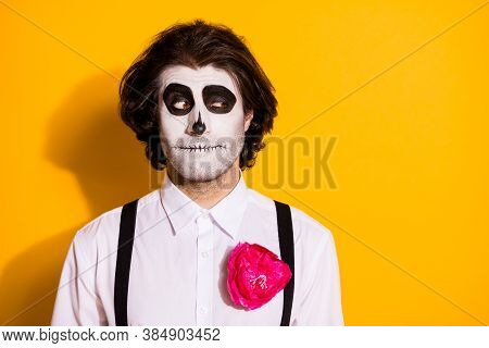 Photo Of Spooky Zombie Monster Guy Look Empty Space Cunning Playful Prepare Interesting Trick Childr