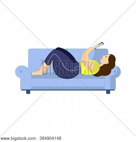 An Illustration Of A Woman Laying On A Couch With Her Smartphone. Curvy Lady Relaxing Home. Body Pos
