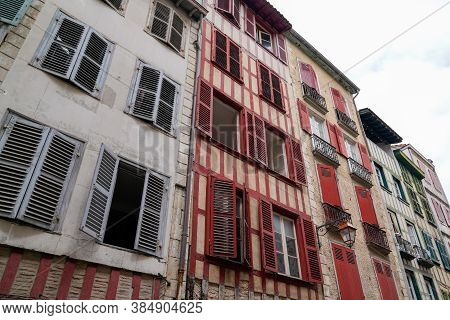 Street House In Bayonne City In Basque Region Of The South Of France North Of Spain Bask Country