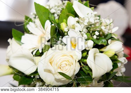 Wedding White Green Bouquet Of Natural Flowers In Marriage Day