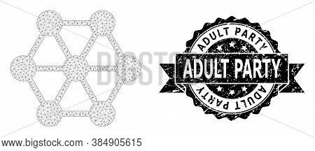 Adult Party Unclean Seal Imitation And Vector Node Connections Mesh Structure. Black Stamp Seal Cont